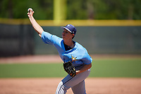 Tampa Bay Rays pitcher Justin Montgomery (91) during a Minor League Extended Spring Training game against the Atlanta Braves on April 15, 2019 at CoolToday Park Training Complex in North Port, Florida.  (Mike Janes/Four Seam Images)