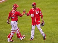 27 July 2013: Washington Nationals pitcher Rafael Soriano gets a handshake from catcher Wilson Ramos after closing out a game against the New York Mets at Nationals Park in Washington, DC. The Nationals defeated the Mets 4-1. Mandatory Credit: Ed Wolfstein Photo *** RAW (NEF) Image File Available ***