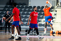22nd February 2021, Podgorica, Montenegro; Eurobasket International Basketball qualification for the 2022 European Championships, England versus France;  Luke Nelson of Great Britain in warm up