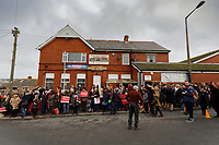 Pictured: Labour party supporters outside the Barry Island Sports and Social Club. Saturday 07 December 2019<br /> Re: Labour Party leader Jeremy Corbyn pre-election campaign in Barry, south Wales, UK.