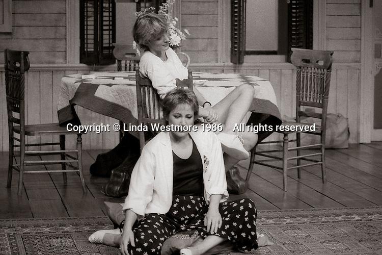 "Loelia (Kate Buffery) and Grace (Zoe Wanamaker)  in  ""Wrecked Eggs"" written and directed by David Hare, designed by John Gunter, National Theatre, London, 1986."