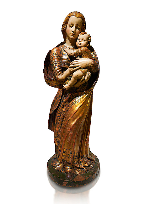 Gothic wooden statue of Madonna and Child by Seguidor de Diego de Siloe of Burgos, circa 1530-1540, tempera and gold leaf on wood, from the church of San Miguel de Medina del Campo, Valladolid..  National Museum of Catalan Art, Barcelona, Spain, inv no: MNAC  131050. Against a white background.