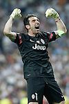Juventus' Gianluigi Buffon celebrates goal during Champions League 2014/2015 Semi-finals 2nd leg match.May 13,2015. (ALTERPHOTOS/Acero)