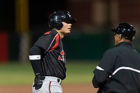 Lake Elsinore Storm right fielder Tirso Ornelas (23) and manager Tony Tarasco (33) during a California League game against the Lancaster JetHawks on April 10, 2019 at The Hanger in Lancaster, California. Lancaster defeated Lake Elsinore 8-5 in the second game of a doubleheader. (Zachary Lucy/Four Seam Images)