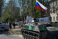 Civil army APC of Donbas seen on the streets of Slavyansk