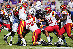 Iowa State Cyclones linebacker Kane Seeley (29), Iowa State Cyclones defensive lineman Pierre Aka (91) and Iowa State Cyclones defensive back Kamari Cotton-Moya (5) in action during the game between Iowa State Cyclones and the TCU Horned Frogs at the Amon G. Carter Stadium in Fort Worth, Texas.