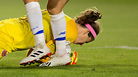 CARSON, CA - FEBRUARY 07: GK Stephanie Labbe #1 of Canada protects the ball during a game between Canada and Costa Rica at Dignity Health Sports Complex on February 07, 2020 in Carson, California.