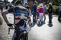 being involved in a crash.. Jasper De Laat (BEL/METEC TKH continental cycling team).<br /> <br /> GP Marcel Kint 2018 <br /> Kortrijk > Zwevegem 174.8km (BELGIUM)