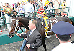 09 May 16:  Assistant trainer Scott Blasi leads filly Rachel Alexandra onto the track before the favorite went on to win the 134th running of the grade 1 Preakness Stakes for three year olds at Pimlico Race Track in Baltimore, Maryland.