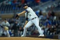 Gwinnett Braves pitcher Elian Leyva (51) in action against the Durham Bulls at Durham Bulls Athletic Park on April 20, 2019 in Durham, North Carolina. The Bulls defeated the Braves 3-2 in game two of a double-header. (Brian Westerholt/Four Seam Images)