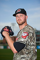 Arkansas Travelers pitcher Max Povse (33) poses for a photo after a game against the Frisco RoughRiders on May 28, 2017 at Dickey-Stephens Park in Little Rock, Arkansas.  Arkansas defeated Frisco 17-3.  (Mike Janes/Four Seam Images)