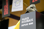 The winners trophy on stage at the team presentation before the 116th edition of Paris-Roubaix 2018. 7th April 2018.<br /> Picture: ASO/Pauline Ballet | Cyclefile<br /> <br /> <br /> All photos usage must carry mandatory copyright credit (© Cyclefile | ASO/Pauline Ballet)