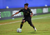 LAKE BUENA VISTA, FL - JULY 18: Latif Blessing #7 of LAFC runs with the ball during a game between Los Angeles Galaxy and Los Angeles FC at ESPN Wide World of Sports on July 18, 2020 in Lake Buena Vista, Florida.