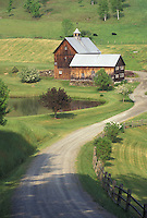 barn, country lane, farm, Vermont, VT, A dirt driveway leads down to the Sleepy Hollow Farm in Pomfret in the spring.