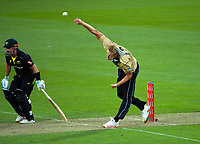 NZ's Kyle Jamiseon bowls during the third international men's T20 cricket match between the New Zealand Black Capss and Australia at Sky Stadium in Wellington, New Zealand on Wednesday, 3 March 2021. Photo: Dave Lintott / lintottphoto.co.nz