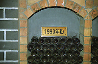 The Great Wall Winery: bottles of the 1990 vintage in the wine library Beijing, China, Asia