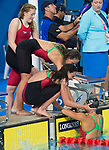 Wales Jazz Carlin,  Ellena Jones Kathryn Greenslade, congratulate Chloe Tutton at the end of the Woman's 4x100m Team Relay<br /> <br /> *This image must be credited to Ian Cook Sportingwales and can only be used in conjunction with this event only*<br /> <br /> 21st Commonwealth Games - Swimming - Day 3 - 07\04\2018 - Gold Coast Optus Aquatic centre - Gold Coast City - Australia
