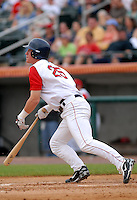 OF-DH Ryan Westmoreland of the Lowell Spinners, the short season NY-P affiliate of the Boston Red Sox ,at LeLacheur Field in Lowell, MA on August 9, 2009. (Photo by Ken Babbitt/Four Seam Images)