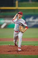 Clearwater Threshers starting pitcher Spencer Howard (31) during a Florida State League game against the Dunedin Blue Jays on April 4, 2019 at Spectrum Field in Clearwater, Florida.  Dunedin defeated Clearwater 11-1.  (Mike Janes/Four Seam Images)
