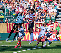 Sydney Leroux, Erica Miranda.  The USWNT defeated Costa Rica, 8-0, during a friendly match at Sahlen's Stadium in Rochester, NY.