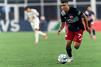 FOXBOROUGH, MA - AUGUST 5: Damian Rivera #72 of New England Revolution II brings the ball forward during a game between North Carolina FC and New England Revolution II at Gillette Stadium on August 5, 2021 in Foxborough, Massachusetts.