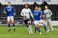 Morgan Whittaker of Swansea City(C) in action during the Sky Bet Championship match between Swansea City and Cardiff City at the Liberty Stadium, Swansea, Wales, UK. Saturday 20 March 2021