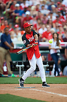 St. Louis Cardinals great Ozzie Smith bats during the All-Star Legends and Celebrity Softball Game on July 12, 2015 at Great American Ball Park in Cincinnati, Ohio.  (Mike Janes/Four Seam Images)