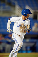 Dunedin Blue Jays shortstop J.C. Cardenas (2) runs to first base during a game against the St. Lucie Mets on April 19, 2017 at Florida Auto Exchange Stadium in Dunedin, Florida.  Dunedin defeated St. Lucie 9-1.  (Mike Janes/Four Seam Images)
