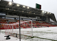 General view of Brentford FC covered in snow during Brentford vs Leicester City, Emirates FA Cup Football at the Brentford Community Stadium on 24th January 2021