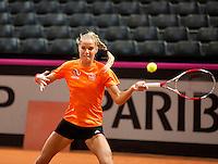 Februari 04, 2015, Apeldoorn, Omnisport, Fed Cup, Netherlands-Slovakia,  Arantxa Rus (NED)<br /> Photo: Tennisimages/Henk Koster