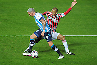 20th July 2021; Buenos Aires, Argentina;  Enzo Copetti of Racing challenges Miranda of São Paulo, during the match between Racing and São Paulo, for the Libertadores 2021 Final Round, at Estádio Presidente Perón this Tuesday 20th.