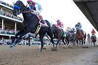 1st May 2021; Kentucky, USA;  Medina Spirit (8) ridden by jockey John Velazquez leads on the front stretch and goes on to win the 147th Running of the Kentucky Derby on May 1, 2021 at Churchill Downs in Louisville, Kentucky.