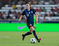HOUSTON, TX - JUNE 13: Emily Sonnett #14 of the USWNT dribbles during a game between Jamaica and USWNT at BBVA Stadium on June 13, 2021 in Houston, Texas.