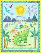 Kate, CHILDREN, KINDER, NIÑOS, paintings+++++,GBKM752,#k#, EVERYDAY,dino,dinos