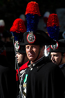 """Carabinieri (historic uniform).<br /> <br /> Rome, 23/03/2019. The President of the People's Republic of China (General Secretary of the Communist Party of China, and Chairman of the Central Military Commission), Xi Jinping, meets the Italian Prime Minister Giuseppe Conte at Villa Madama during the second day of a three-day State visit to Italy. After the arrival of Xi Jinping greeted with the full honors at the splendid Renaissance Villa designed by Raffaello Sanzio, the Chinese delegation and the Italian delegation led by the Luigi Di Maio (Deputy Prime Minister, Minister of Economic development, Labour and Social Policies, and leader of the Five Star Movement) signed a memorandum of understanding - 29 separate protocols - supporting the """"Belt and Road"""" initiative (part of the """"New Silk Road Project"""") as the first of the Seven major economies in the world. Luigi Di Maio stated that """"the value of individual deals signed amounts to about 2,5 billion euros, with the potential to grow to about 20 billion euros""""."""