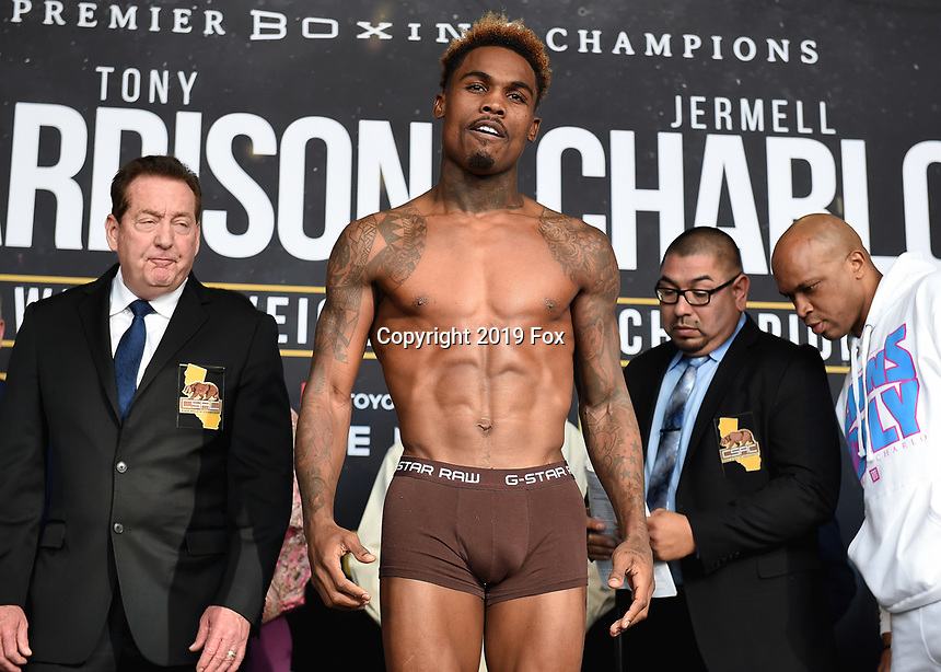 "ONTARIO - DECEMBER 20:  Jermell Charlo at  the weigh in for the December 21 fight on the Fox Sports PBC ""Harrison v Charlo"" on December 20, 2019 in Ontario, California. (Photo by Frank Micelotta/Fox Sports/PictureGroup)"