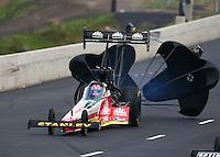 Jul. 19, 2014; Morrison, CO, USA; NHRA top fuel driver Doug Kalitta during qualifying for the Mile High Nationals at Bandimere Speedway. Mandatory Credit: Mark J. Rebilas-