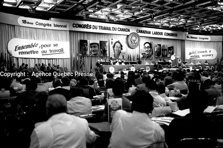 Montreal, Canada - File Photo - Canadian Labour Congress, June 30, 1984.<br /> <br /> Photo :  Agence Quebec Presse - Pierre Roussel