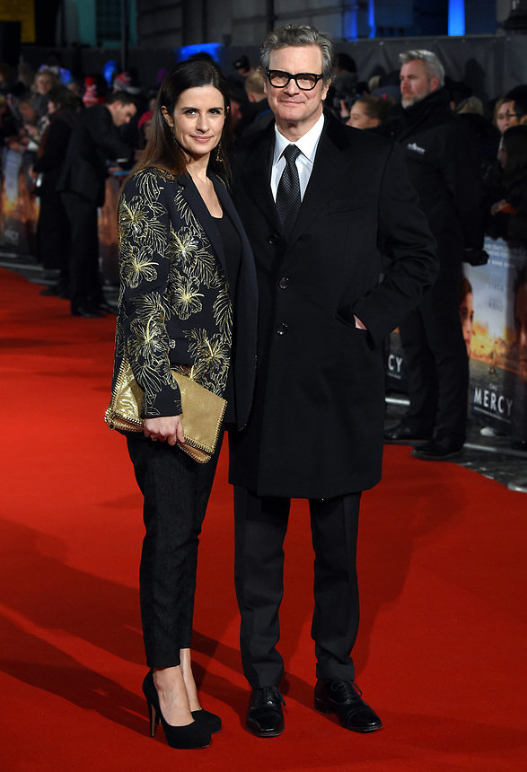 "Livia and Colin Firth<br /> arriving for the premiere of ""The Mercy"" at the Curzon Mayfair, London<br /> <br /> <br /> ©Ash Knotek  D3375  06/02/2018"