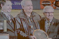 2 April 2016: Montreal Expos beat reporter Serge Touchette (center) appears on the video scoreboard as he is presented with the Canadian Baseball Hall of Fame's 2015 Jack Graney Award at a pre-season exhibition game between the Toronto Blue Jays and the Boston Red Sox at Olympic Stadium in Montreal, Quebec, Canada. The Red Sox defeated the Blue Jays 7-4 in the second of two MLB weekend games, which saw a two-game series attendance of 106,102 at the former home on the Montreal Expos. Mandatory Credit: Ed Wolfstein Photo *** RAW (NEF) Image File Available ***2 April 2016: Toronto Blue Jays first base coach Serge Touchette sits on the dugout steps during a pre-season exhibition series between the Blue Jays and the Boston Red Sox at Olympic Stadium in Montreal, Quebec, Canada. The Red Sox defeated the Blue Jays 7-4 in the second of two MLB weekend games, which saw a two-game series attendance of 106,102 at the former home on the Montreal Expos. Mandatory Credit: Ed Wolfstein Photo *** RAW (NEF) Image File Available ***