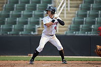 Nolan Brown (6) of the Kannapolis Intimidators at bat against the Lakewood BlueClaws at Kannapolis Intimidators Stadium on April 8, 2018 in Kannapolis, North Carolina.  The Intimidators defeated the BlueClaws 5-1 in game one of a double-header.  (Brian Westerholt/Four Seam Images)