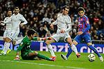 Real Madrid´s Gareth Bale and Levante UD´s goalkeeper Diego Marino Villar during 2014-15 La Liga match between Real Madrid and Levante UD at Santiago Bernabeu stadium in Madrid, Spain. March 15, 2015. (ALTERPHOTOS/Luis Fernandez)