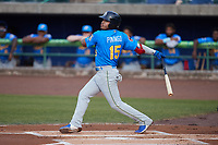 Yohendrick Pinango (15) of the Myrtle Beach Pelicans follows through on his swing against the Lynchburg Hillcats at Bank of the James Stadium on May 22, 2021 in Lynchburg, Virginia. (Brian Westerholt/Four Seam Images)