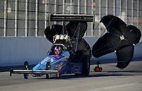 Nov 11, 2010; Pomona, CA, USA; NHRA top fuel dragster driver Mike Strasburg during qualifying for the Auto Club Finals at Auto Club Raceway at Pomona. Mandatory Credit: Mark J. Rebilas-