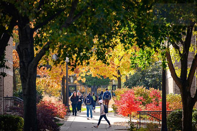 November 5, 2019; Students walk on mod quad. (Photo by Matt Cashore/University of Notre Dame)