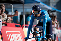 Alejandro Valverde (ESP/Movistar) rolling in at the finish<br /> <br /> stage 10 (ITT): Jurançon to Pau (36.2km > in FRANCE)<br /> La Vuelta 2019<br /> <br /> ©kramon