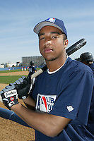 February 10 2008: Malcom Culver participates in a MLB pre draft workout for high school players at the Urban Youth Academy in Compton,CA.  Photo by Larry Goren/Four Seam Images