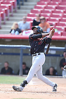 Austin Wilson (40) of the Bakersfield Blaze bats during a game against the High Desert Mavericks at Mavericks Stadium on May 18, 2015 in Adelanto, California. High Desert defeated Bakersfield, 7-6. (Larry Goren/Four Seam Images)