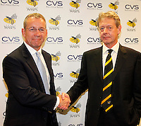 Photo: Richard Lane/Richard Lane Photography. London Wasps reception at the Central London offices of the Club's Official Main Sponsor, CVS, the business rates specialist. 02/09/2013. CVS Chief Executive and London Wasps Chairman, Mark Rigby and London Wasps Chief Executive, Nick Eastman.