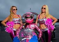 Aug 31, 2014; Clermont, IN, USA; NHRA pro stock motorcycle rider Angie Smith (center) with Kandy cheerleaders during qualifying for the US Nationals at Lucas Oil Raceway. Mandatory Credit: Mark J. Rebilas-USA TODAY Sports